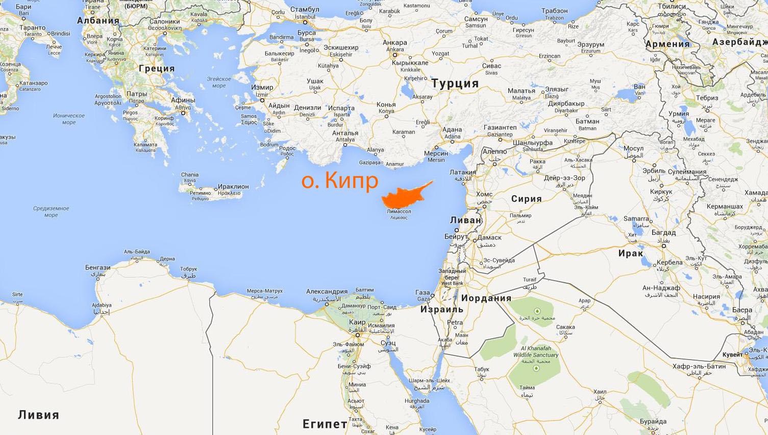 Територия и границы на карте северный кипр